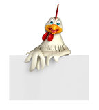 Fun Hen cartoon character with  board Royalty Free Stock Photos