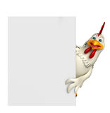 Fun Hen cartoon character with  board Stock Images