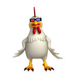 fun Hen cartoon character with 3D gogal Royalty Free Stock Images