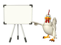 Fun Hen cartoon character with display  board Stock Photo