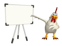 Fun Hen cartoon character with display  board Royalty Free Stock Photo