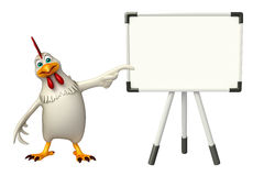 Fun Hen cartoon character with display  board Royalty Free Stock Images