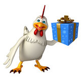 Fun  Hen cartoon character with giftbox Royalty Free Stock Images
