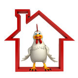 fun Hen cartoon character with home sign Stock Image