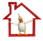 fun Hen cartoon character with home sign Stock Images