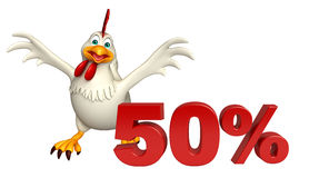 Fun Hen cartoon character  with 50% sign. 3d rendered illustration of Hen cartoon character  with 50% sign Stock Photos