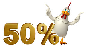 Fun Hen cartoon character  with 50% sign. 3d rendered illustration of Hen cartoon character  with 50% sign Royalty Free Stock Images