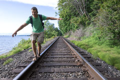 Fun hike on railroad tracks Royalty Free Stock Photography