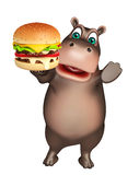 Fun Hippo cartoon character  with burger Stock Image