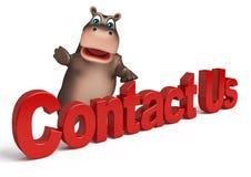 Fun Hippo cartoon character with contact us Stock Photo