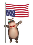 Fun Hippo cartoon character  with flag. 3d rendered illustration of Hippo cartoon character with flag Stock Photo