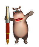 Fun Hippo cartoon character  with pen. 3d rendered illustration of Hippo cartoon character with pen Royalty Free Stock Images