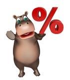 Fun Hippo cartoon character with % sign Stock Photos