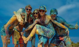 Fun at holi party royalty free stock photos