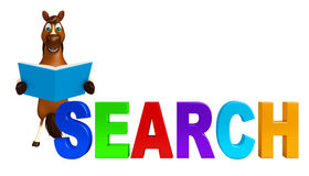 Fun Horse cartoon character with books  and search sign Stock Photography