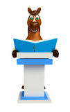 Fun Horse cartoon character with books  and speech stage Royalty Free Stock Photography