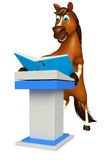 Fun Horse cartoon character with books  and speech stage Royalty Free Stock Image