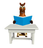 Fun Horse cartoon character with books ;table and chair Royalty Free Stock Photography