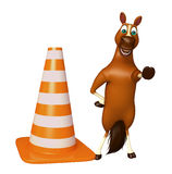 fun Horse cartoon character with construction cone stock illustration