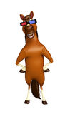 fun Horse cartoon character  with 3D gogal Royalty Free Stock Photo