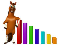 Fun Horse cartoon character with graph Stock Image