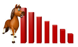 Fun Horse cartoon character with graph Royalty Free Stock Photo