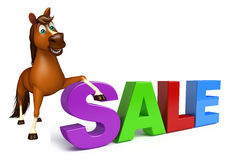 Fun Horse cartoon character with sale sign Royalty Free Stock Photography