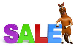 fun Horse cartoon character with sale sign Royalty Free Stock Photos