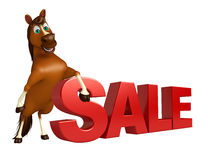 fun Horse cartoon character with sale sign Stock Photography
