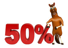 Fun Horse cartoon character with 50% sign. 3d rendered illustration of Horse cartoon character with 50% sign Stock Photo