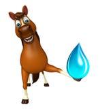 fun Horse cartoon character with water drop Stock Image