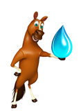 fun Horse cartoon character with water drop Stock Photo
