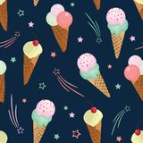 Fun ice cream and stars seamless pattern. Great for yummy summer dessert wallpaper, backgrounds, packaging, fabric, scrapbooking, and giftwrap projects Stock Images