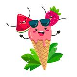 Fun ice cream with watermelon and strawberry in a cartoon style. Vector isolate on white background stock illustration