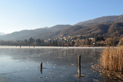 Fun on the ice - Lake Endine - Bergamo - Italy Stock Image