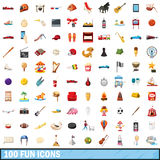 100 fun icons set, cartoon style. 100 fun icons set in cartoon style for any design vector illustration Stock Illustration