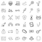 Fun icons set, outline style. Fun icons set. Outline style of 36 fun vector icons for web isolated on white background Royalty Free Stock Image