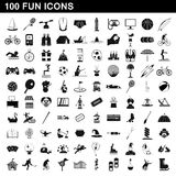100 fun icons set, simple style Stock Images