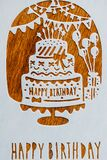 Fun illustration for children with birthday cake and party decor - Happy birthday text