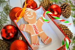 Fun image of smiling gingerbread man with peppermint stick in holiday snowflake dish with colorful candy. Royalty Free Stock Photography