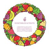 Fun image of vegetables and fruit in the form of frames with place for text Royalty Free Stock Photo