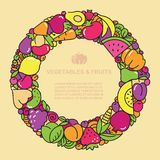 Fun image of vegetables and fruit in the form of frames with place for text Stock Images