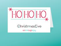 Fun invitation cards for Christmas eve. Christmas eve-lettering Christmas and New year holiday calligraphy phrase on postcard. Finished design for flyers Stock Photography