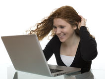 Fun and joy with computer and the Internet Stock Image