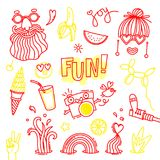 Fun and joy of emotion. Hippie style of life. Set of vector elements for design.  Stock Photos