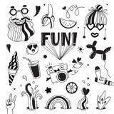 Fun and joy of emotion. Hippie style of life. Set of vector elements for design.  Stock Photography