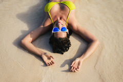 Fun and joy on summer vacation at the beach Stock Photo