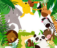 Fun Jungle Animals Border. Illustration of Fun Jungle Animals Border Royalty Free Stock Photo