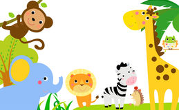Fun Jungle Animals Border stock illustration