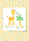 Fun in the Jungle with giraffe and bird embroidery Stock Photos
